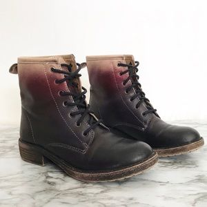 Lucky Novembere Mid-calf Combat Boots Black Ombre